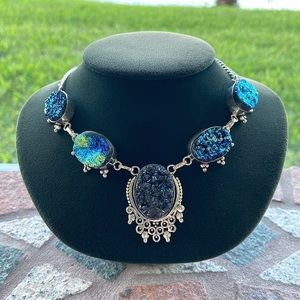 925 Sterling silver blue druzy chocker necklace